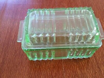 uranium glass butter dish with lid