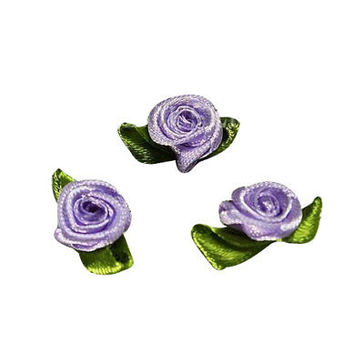 100 Pcs Mini Satin Ribbon Rose Flower Leaf Wedding Decor Appliques Sewing DIY YE