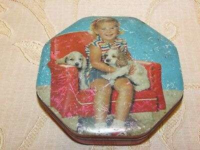 Vintage Hollands Toffees 'Girl And Puppies' Tin