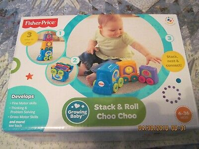 Fisher-Price Growing Baby Stack Roll Choo Choo Learning Educational Toy Nesting