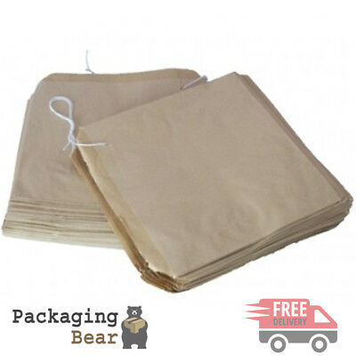 "100 x Brown Strung Kraft Paper Food Bags 12.5"" x 12.5"" 