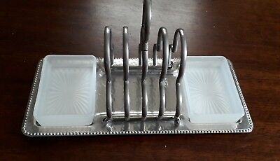 Vintage silver plate Toast Rack & 2 incorporated glass butter dishes