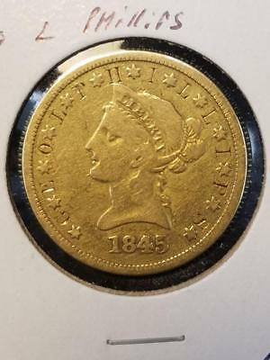 1845 O Counterstamp Geo L Phillips $10 Gold Piece Love Token Scarce  Low Mintage