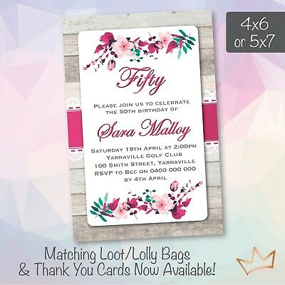 Personalised 18th 21st 30th 40th 50th 60th Birthday Invitations Floral Invites