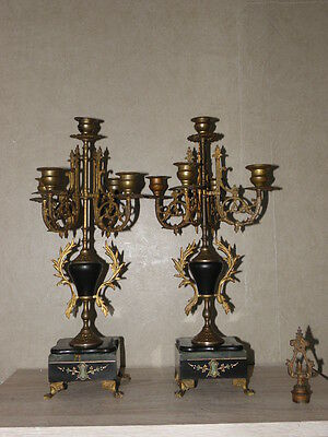 Gilt French Pair Candelabras Candle holders antique ornate brass bronze marble