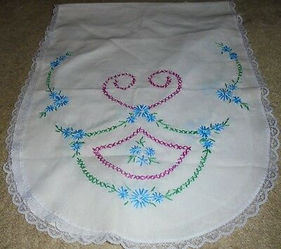 Embroidered floral runner lace romantic chic handstitched garden flowers blue