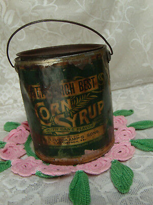 Antique Corn Syrup Pittsburch Best Tin  Bucket With Handle  Voskamp's Sons -1906