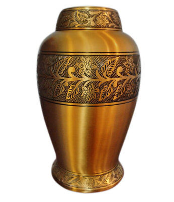 New Adult Brass Cremation Urn, Large Funeral Urn For Human Ashes