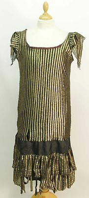 Gold and Black Stripe 1920s Dress