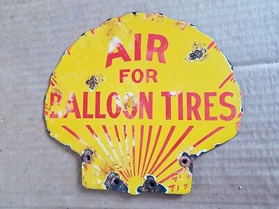 Shell Air Balloon Tires Porcelain Sign vintage Oil Gas Station Lubester pump