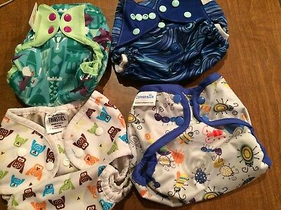 """Diaper Covers """"VARIETY PACK"""" flip, Crunchy amas, THIRSTIES and Coveralls. 1 EACH"""