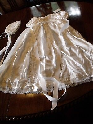 unused beautiful silk & lace christening gown, petticoat & bonnet, boxed