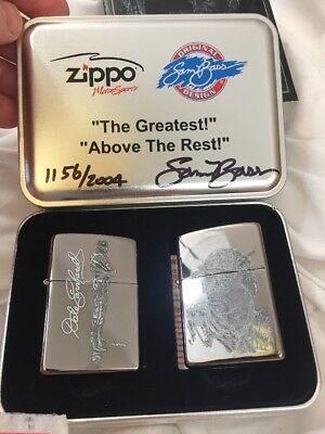 2005 Zippo 2 Lighter Set Signed Sam Bass Limited Edition Dale Earnhardt MIB