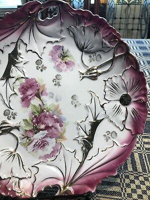 Antique Handled Cake Plate With Carnations