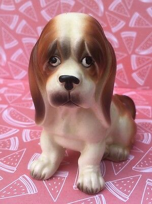 Sad Brown White Dog Puppy Hound Beagle Long Droopy Sitting Ceramic Figurine A613