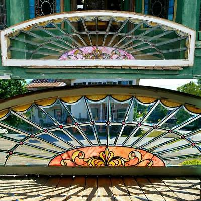 Antique Stained And Beveled Glass Arch Window 22 By 76