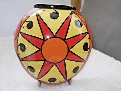 Lorna Bailey Round Wall Pocket Vase Soleil Signed On Back Old Ellgreabe Pottery
