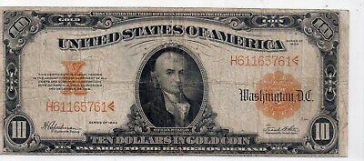 1922-10.00 Large Gold Certificate CFirculated.