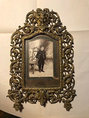 Antique Victorian Brass Frame with Civil War Photo