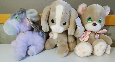 Vtg Precious Moments Animal Plush Stuffed Animals 1985 Applause LOT of 3