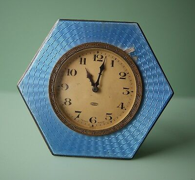 Small silver with blue enamel mantel clock dated 1928-1929 for parts or repair