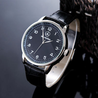 Benz Fashion Mens Watch Stainless Steel Brown / Black Leather Strap Wristwatch