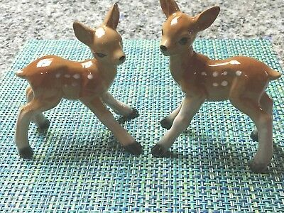 """Vtg Two Spotted Fawn Deer Porcelain Statue Figurine Made In Japan 5 & 5 1/2"""" H"""