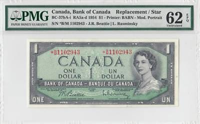 1954 Bank Of Canada Qeii $1 **star Note** (( Pmg 62 Epq ))