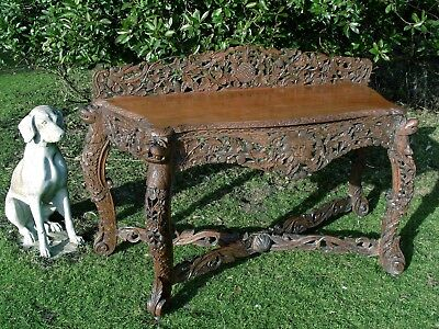 Antique Carved Anglo Indian Console Table 19th Century