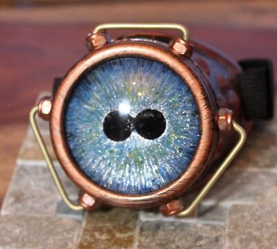 Steampunk monocle goggle with custom hand painted glass eye nautical