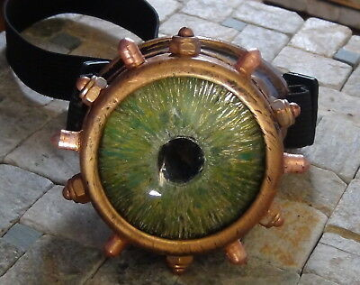 Steampunk monocle goggle with custom hand painted green glass eye