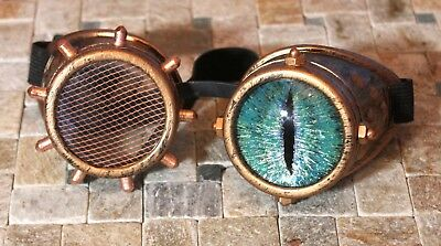 Steampunk goggles with custom hand painted glass blue dragon eye