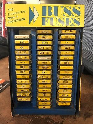 Vintage Metal Buss Fuse Store Display with fuses