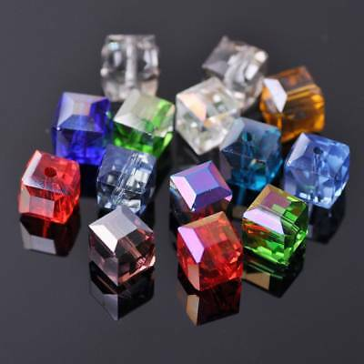 5pcs 10mm Glass Cube Square Crystal Faceted Loose Spacer Beads Jewelry Findings