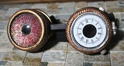 Steampunk goggles with custom hand painted glass eye clock face