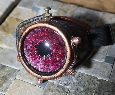 Steampunk monocle goggle with custom hand painted red glass eye