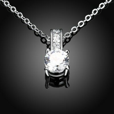 18K White Gold Plated 2 Ct Round Pendant Necklace made with Swarovski Crystals