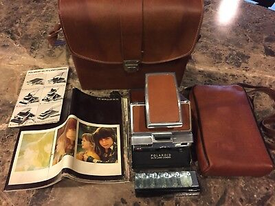 Vintage Polaroid SX-70 Land Camera With Original Leather Cases & Instructions
