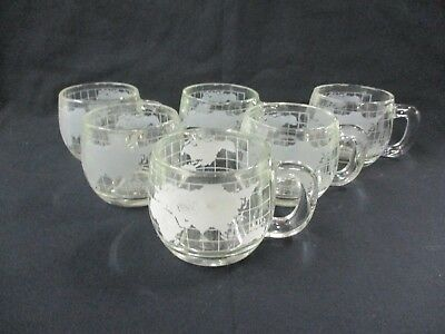 6 Nestle Frosted Glass World Mugs Cups (CI)