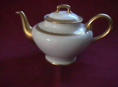 Teapot White with Gold Trim and Lid Small GDA Limoges France