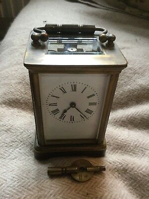 Antique Solid Brass Carriage Clock With Key. Bevelled Glass.
