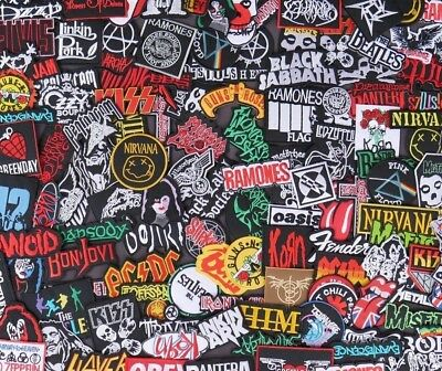 RANDOM Lot of 50 pcs. Iron-on Patches Music Metal Rock Band Sew Embroidered