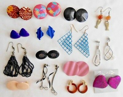 Lot of 15 Pairs Earrings Vintage 80s Era Fashion Lovely Variety and Colors
