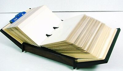 Vintage Rolodex File VIP-35 Wood Grain Blank Plastic Covered Cards ABC Tabs