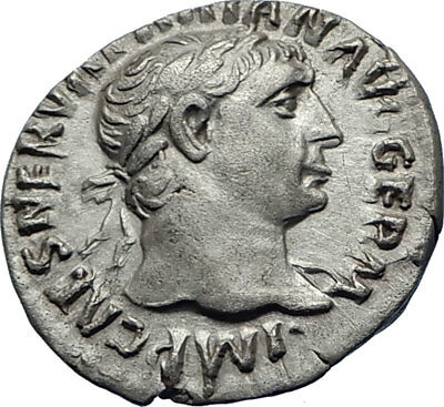 TRAJAN  101AD Rome Authentic Genuine Ancient Silver Roman Coin Hercules i70342