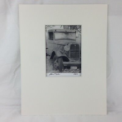 Fine Art Black & White Photography Rusty 1934 Ford Pickup Truck Matted Signed