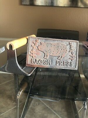 Vintage TAYLOR & NG Cast Iron Bacon Press Wooden Handle 1978 - Lot Of 2