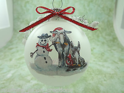H004 Hand-made Christmas Ornament - adorable donkeys steal snowman carrot nose