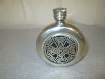 Vintage Silver Metal (Pewter?) Hip Flask with Celtic Knot Cross