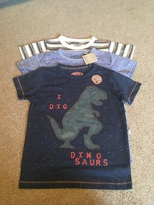 BNWT New Next Boys 3 Pack short sleeve T-shirts Tops Dinosaur 2-3 years